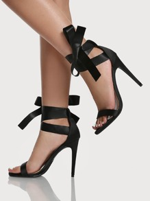 Ribbon Lace Up Heels BLACK