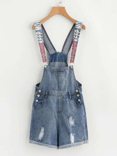 Latter Print Strap Roll Hem Ripped Overall
