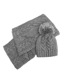 Cable Knit Pom Beanie & Scarf