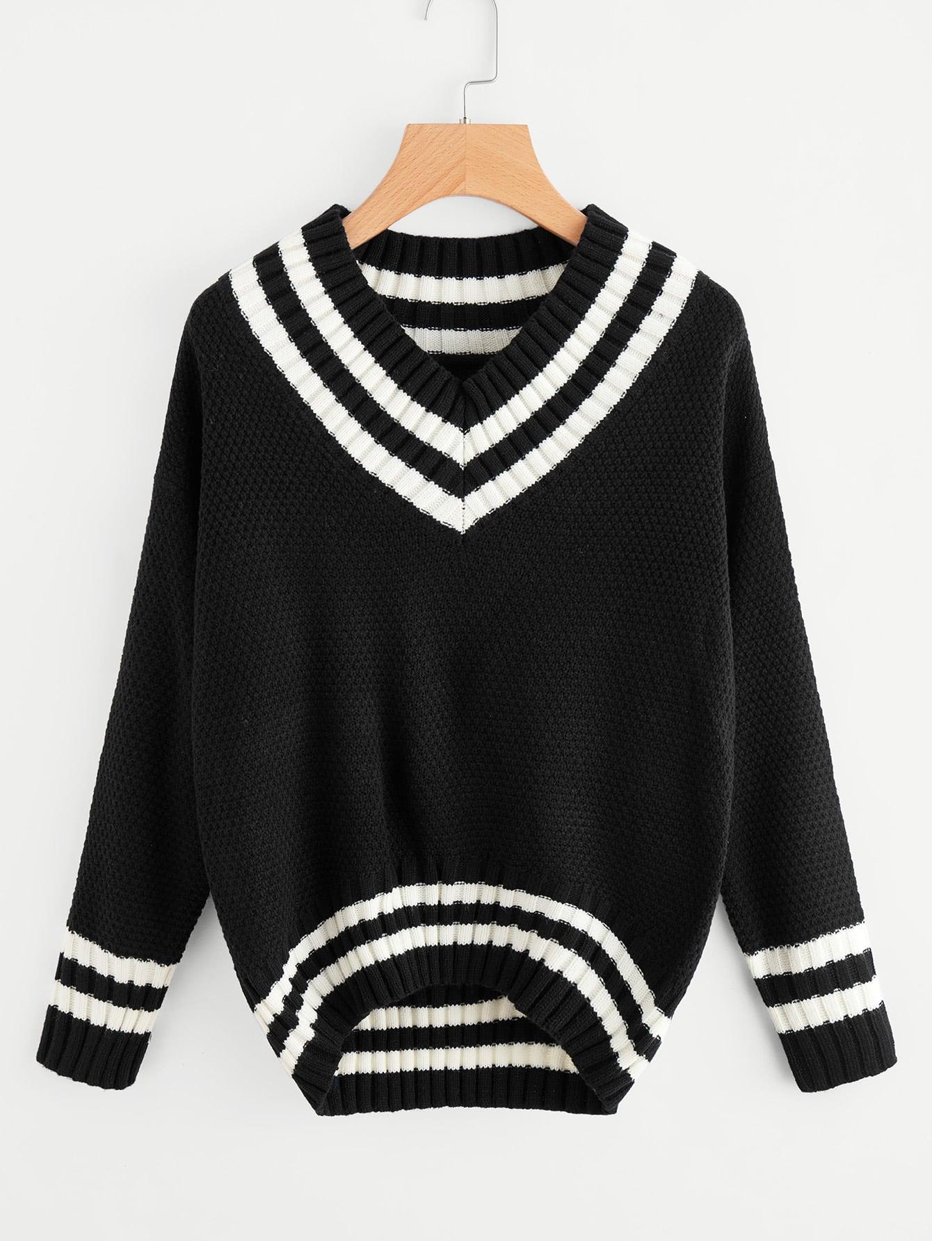 V-neckline Striped Trim Textured Jumper sweater170921104