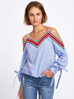 Striped Tape Detail Tied Cuff Gingham Top