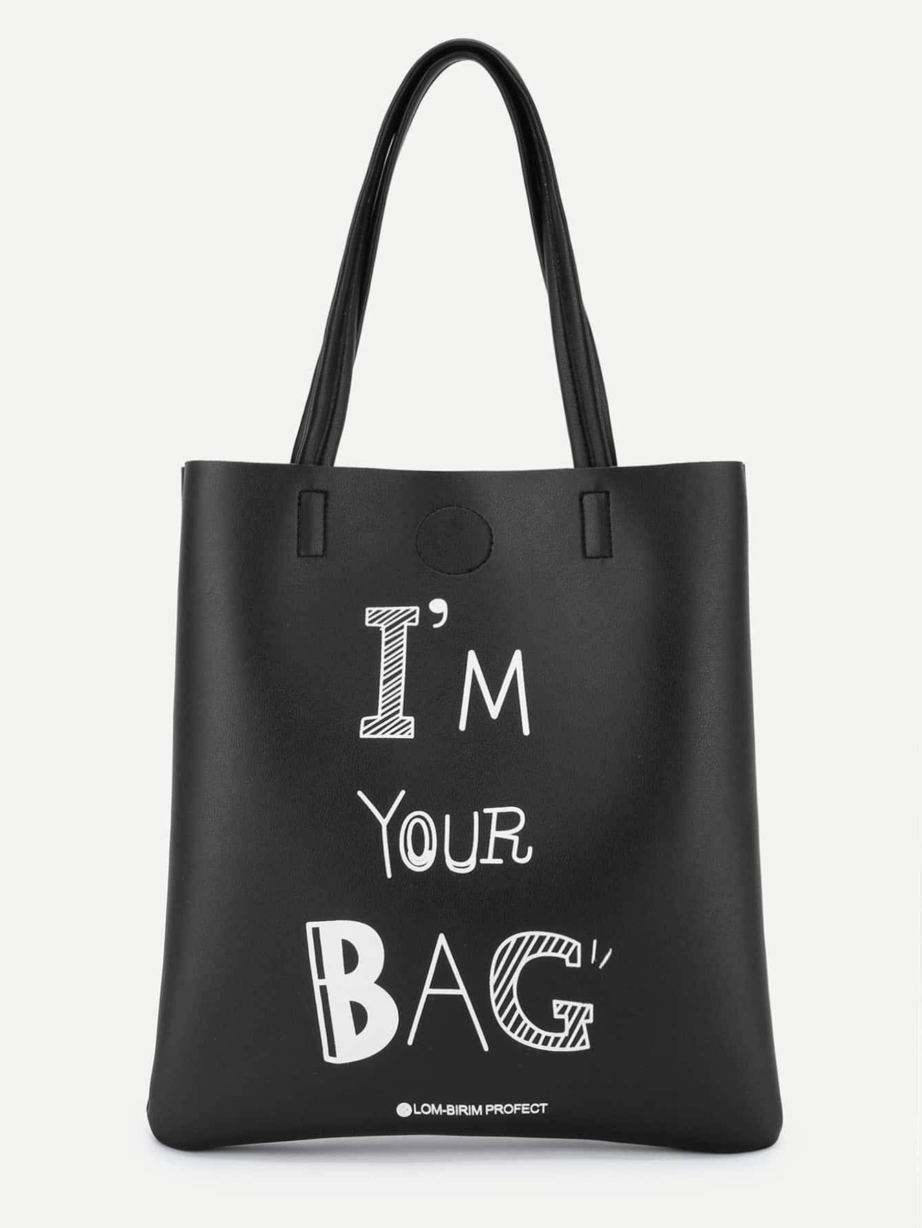 Slogan Print PU Tote Bag