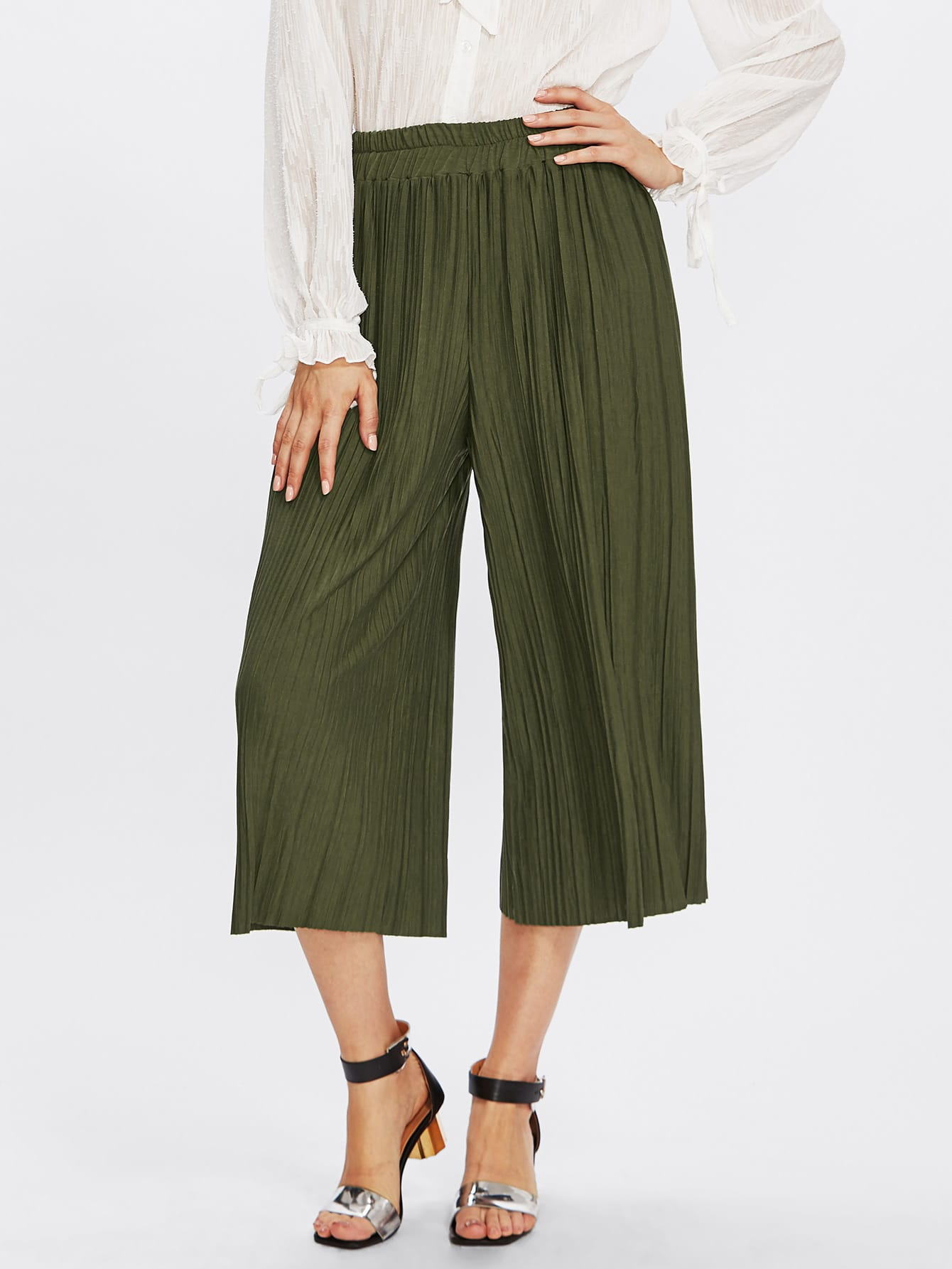 Pleated Wide Leg Pants pants171005101