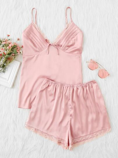 Lace Trim U Back Quilted Cami & Shorts PJ Set