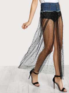Beaded Mesh Denim Cut Out Skirt DENIM BLACK