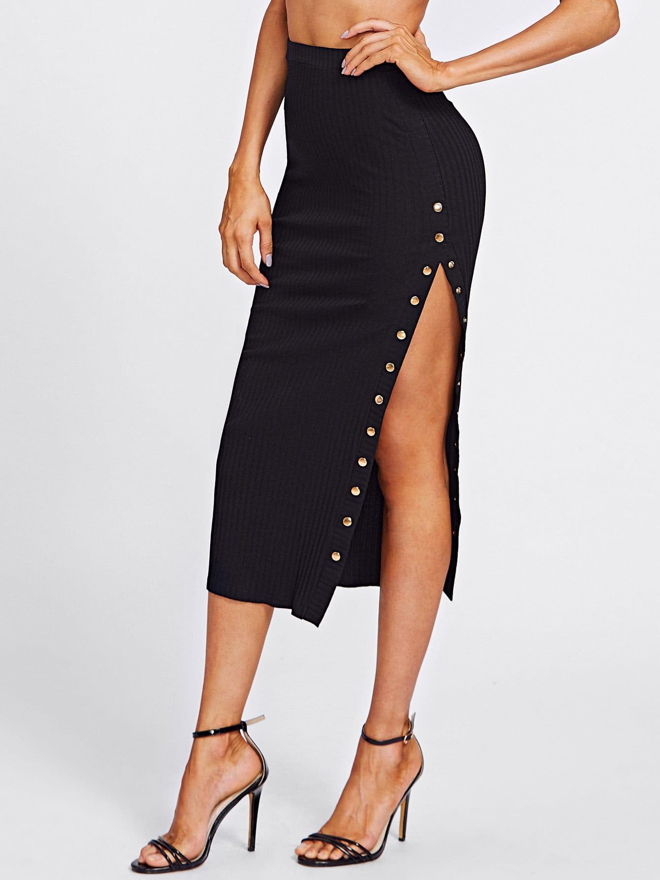 Studs High Slit Ribbed Skirt