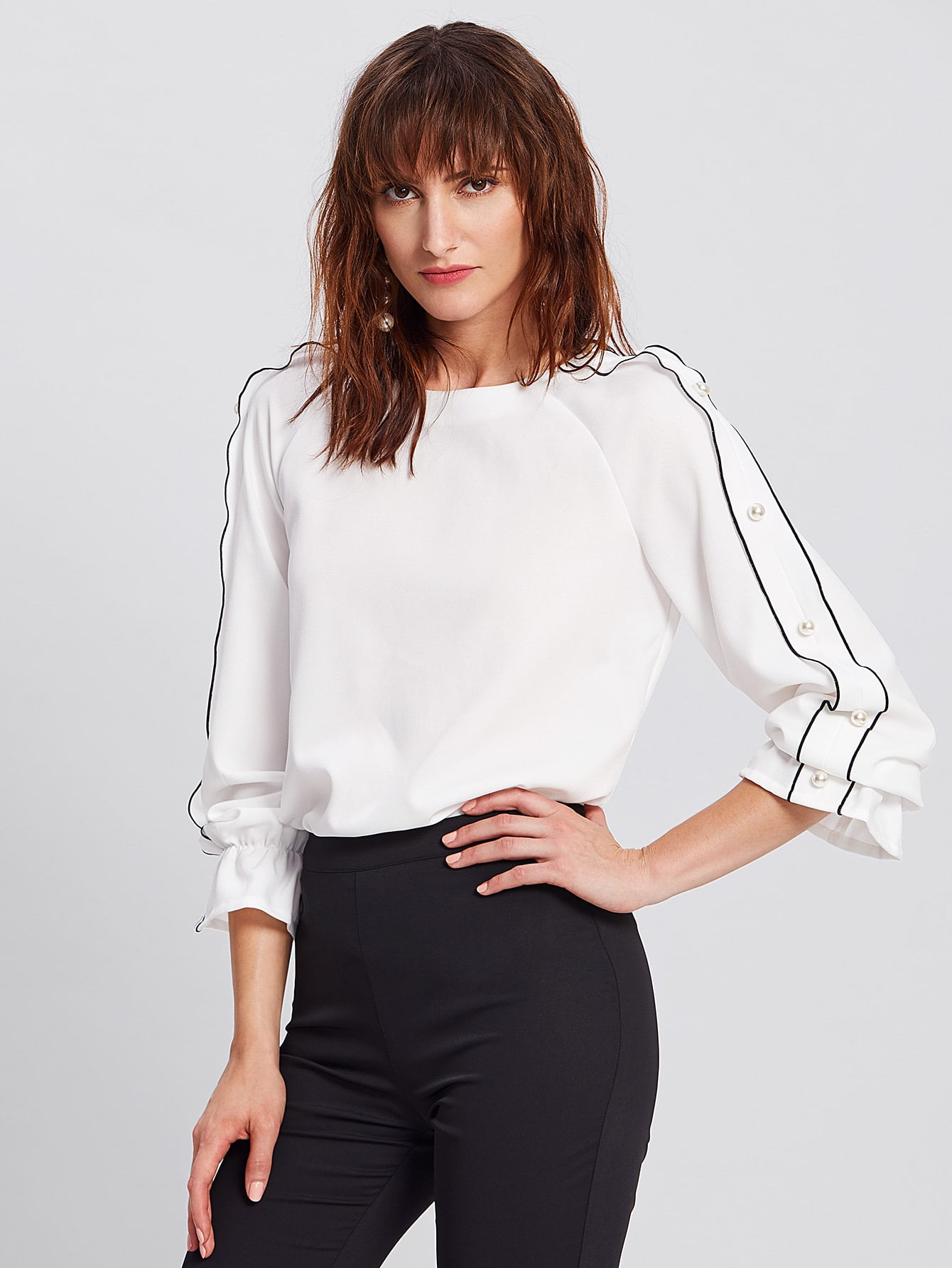 Tipping And Pearl Detail Raglan Sleeve Blouse pearl and layered lace detail pullover