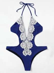 Crochet Trim Open Back Swimsuit