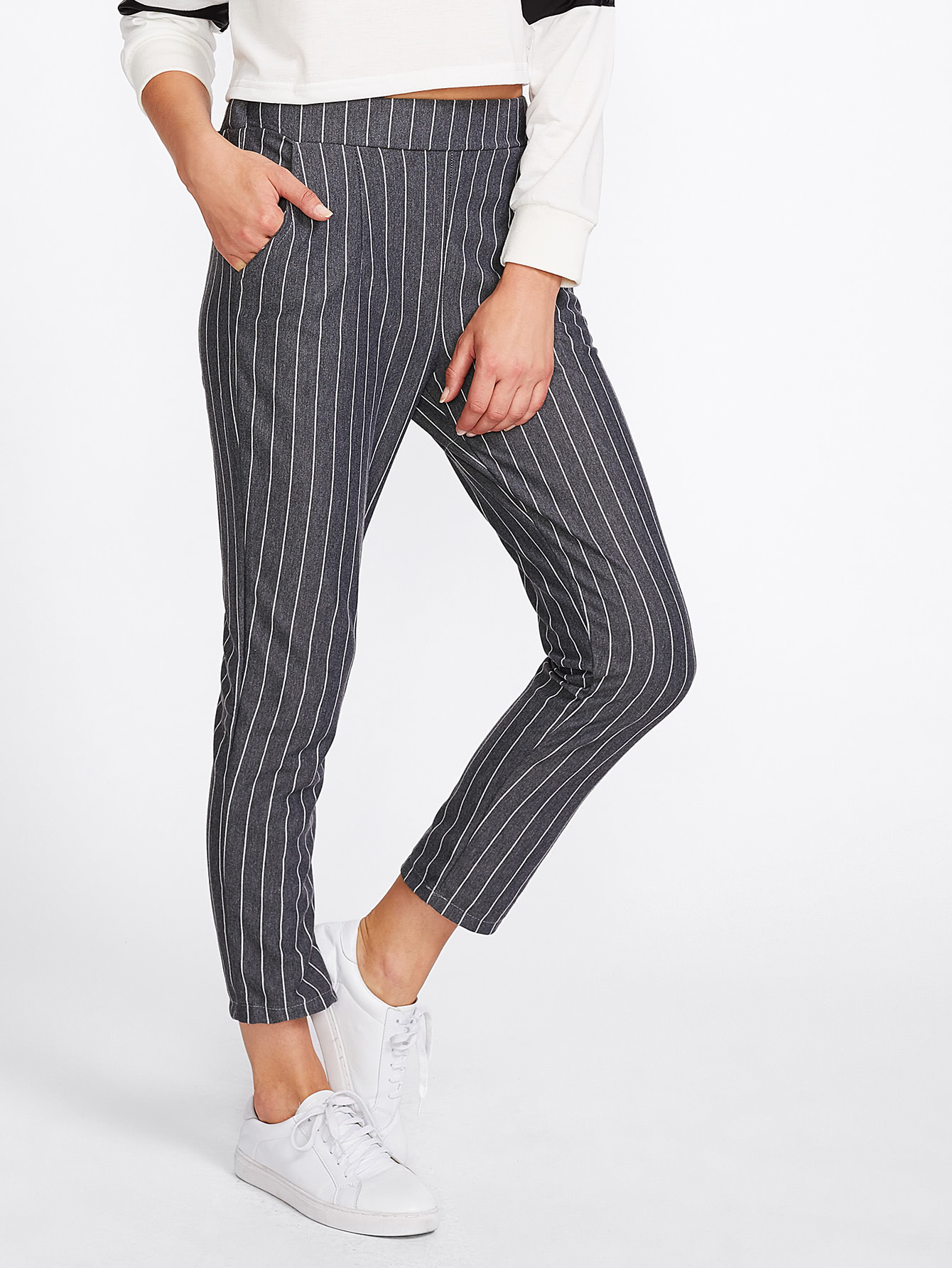 Pinstriped Capri Pants