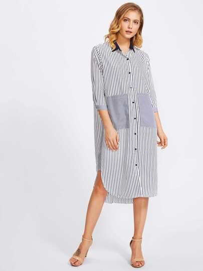 Contrast Panel Dolphin Hem Striped Shirt Dress