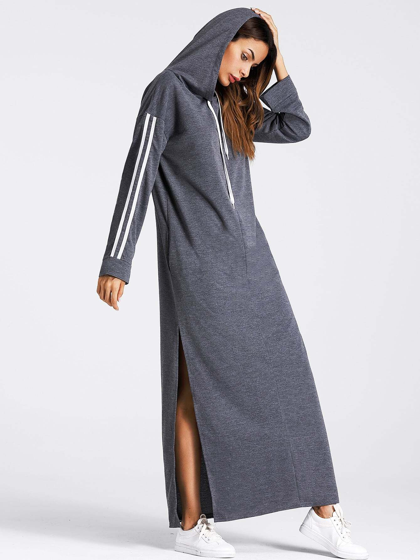 Tape Detail Slit Side Marled Hoodie Dress figure print knot detail marled dress