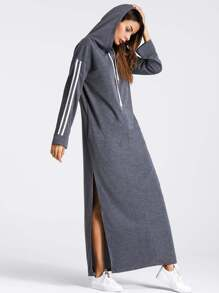 Tape Detail Slit Side Marled Hoodie Dress