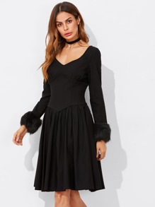 Faux Fur Trim Sleeve Corset Waist Dress