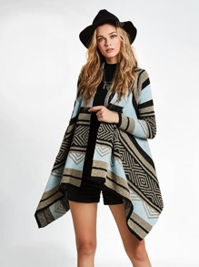 Tribal Knit Hanky Hem Cardigan