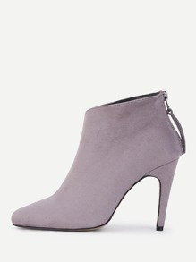 Back Zipper Pointed Toe Suede Boots
