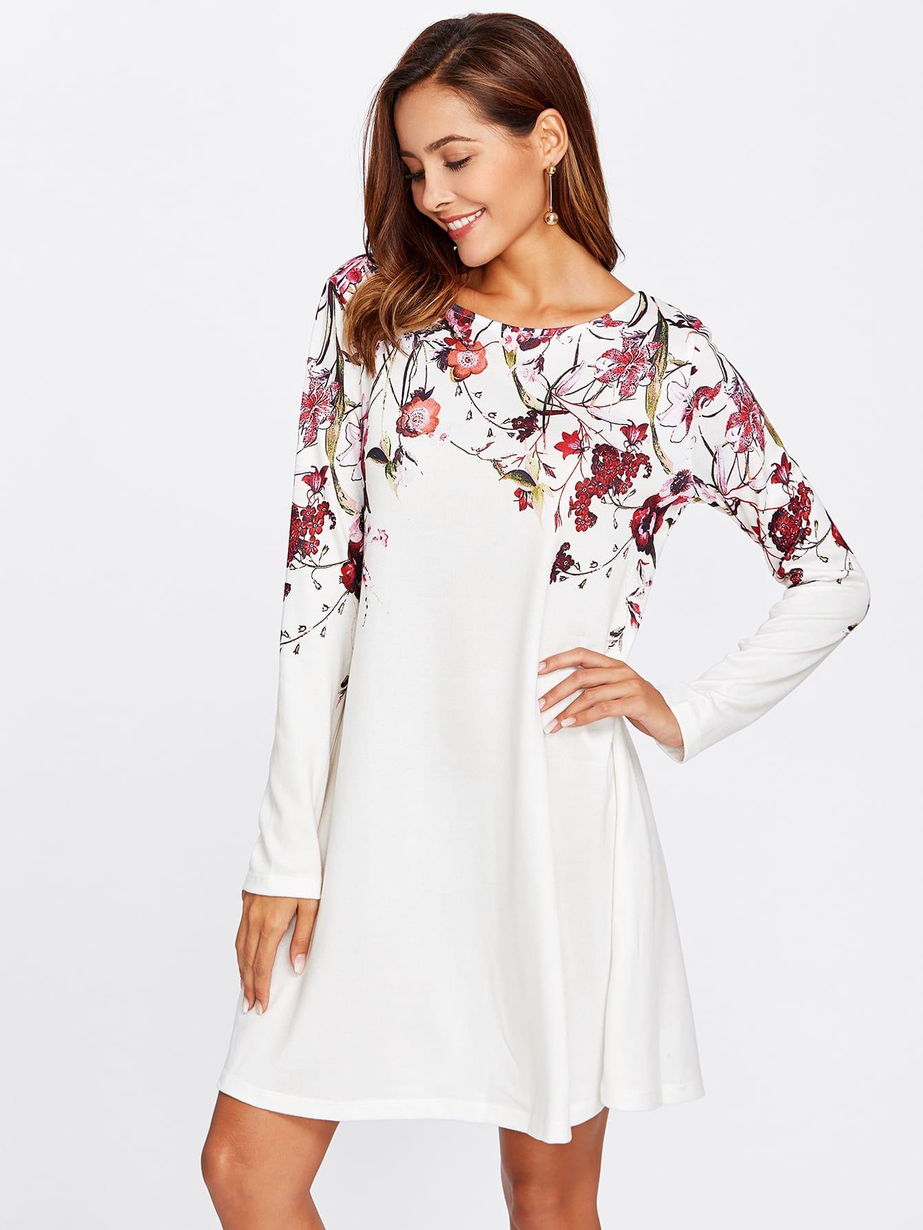 Botanical Print Flowy Dress scalloped edge botanical print dress