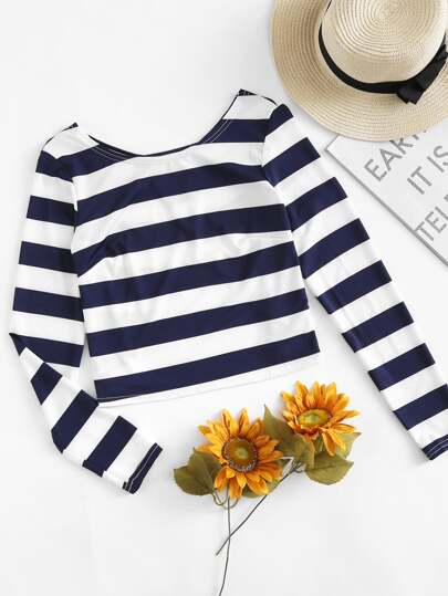 Contrast Striped Open Back T-shirt