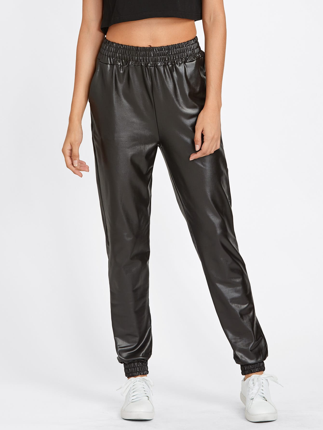 Image of Faux Leather Track Pants