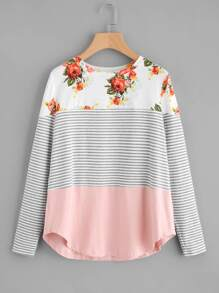 Curved Hem Mixed Print Top
