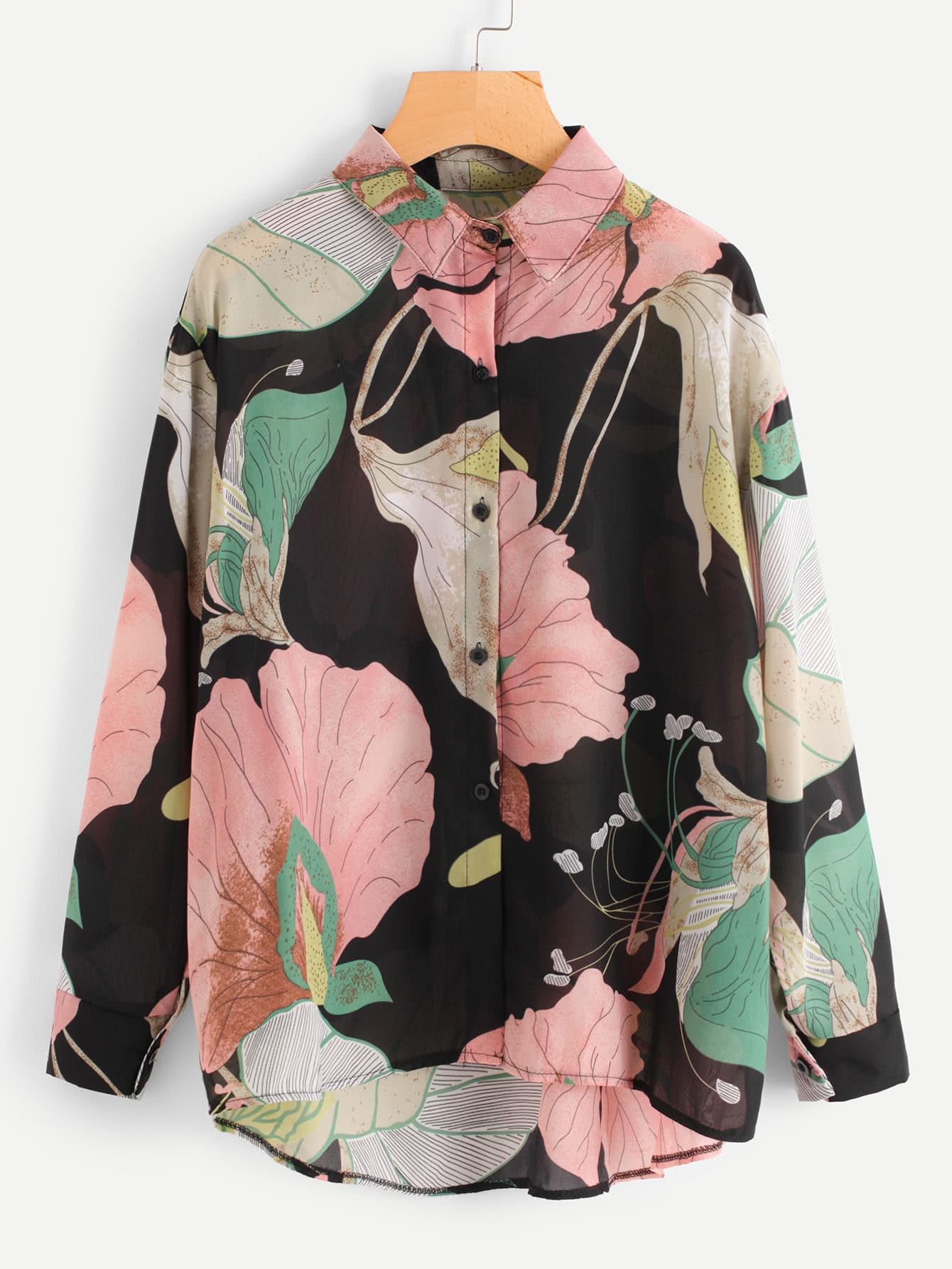 All Over Florals Dip Hem Shirt all over florals ruffle hem top