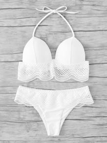 Crochet Ruffle Trim Halter Bikini Set