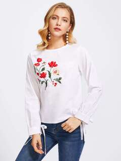 Botanical Embroidered Bow Tie Cuff Top