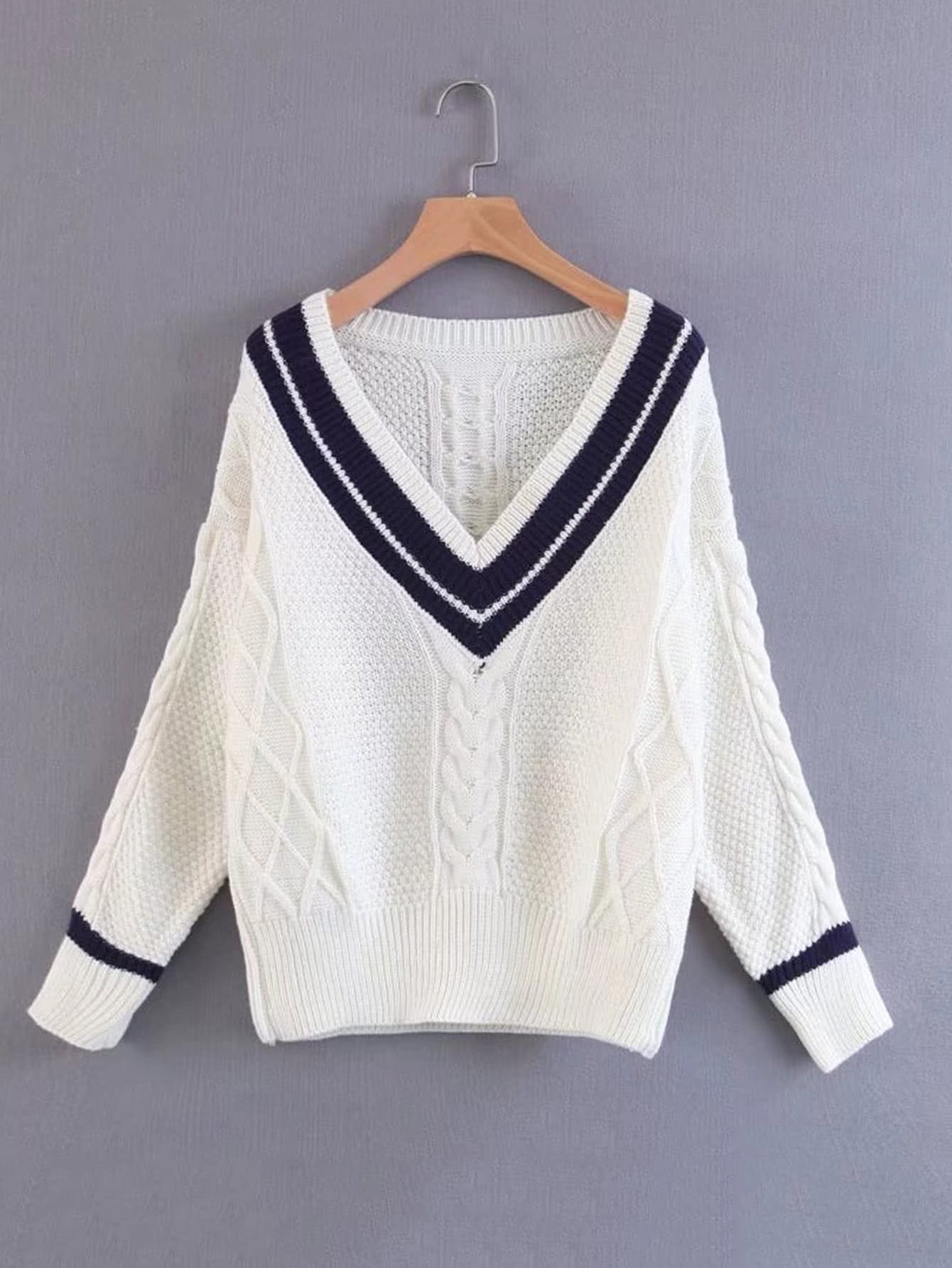Striped V Neck Cable Knit Sweater