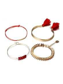 Crystal & Tassel Detail Bracelet Set 4pcs