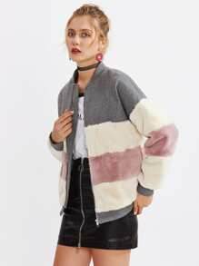 Color Block Faux Fur Panel Jacket