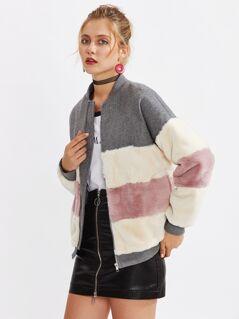 Color Block Faux Fur Panel Jacket