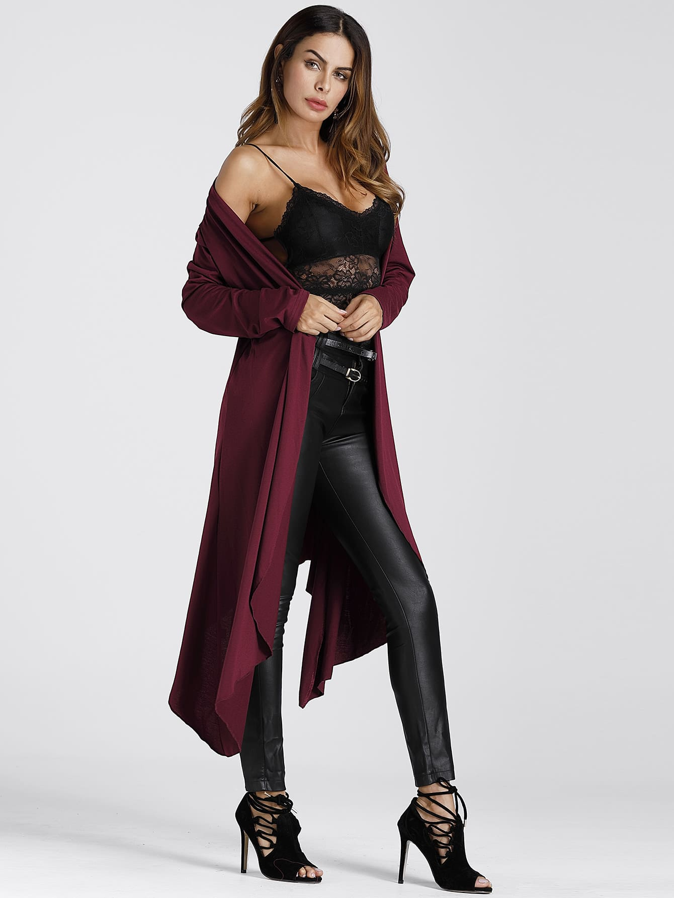 Image of Asymmetric Hem Longline Cardigan Coat