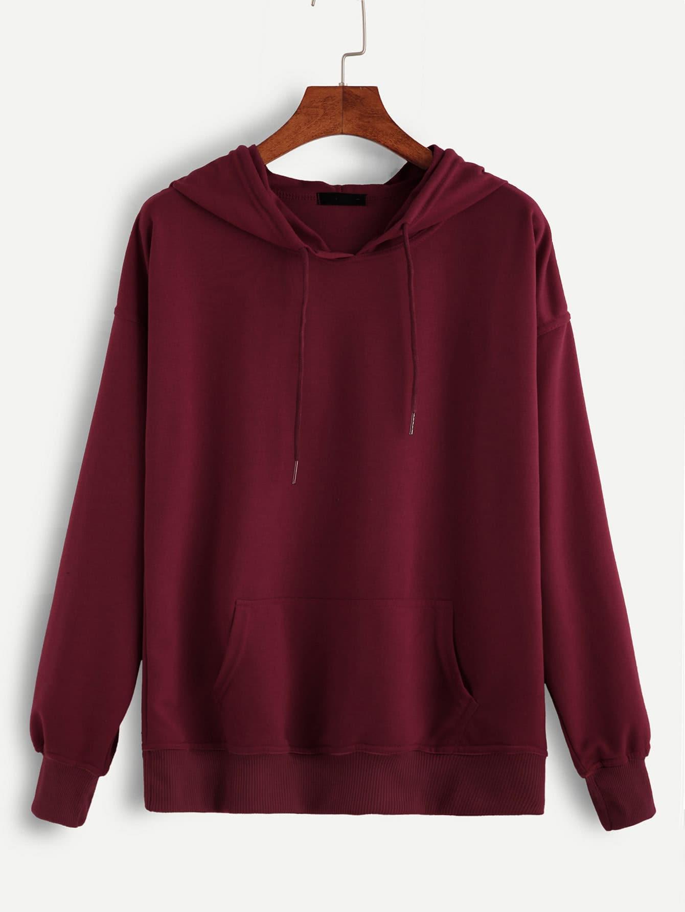 Drop Shoulder Ribbed Trim Hoodie sweatshirt160930102
