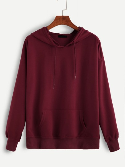 Red Hooded Drawstring Sweatshirt