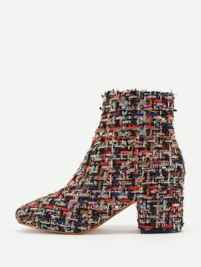 Mix Pattern Block Heeled Ankle Boots
