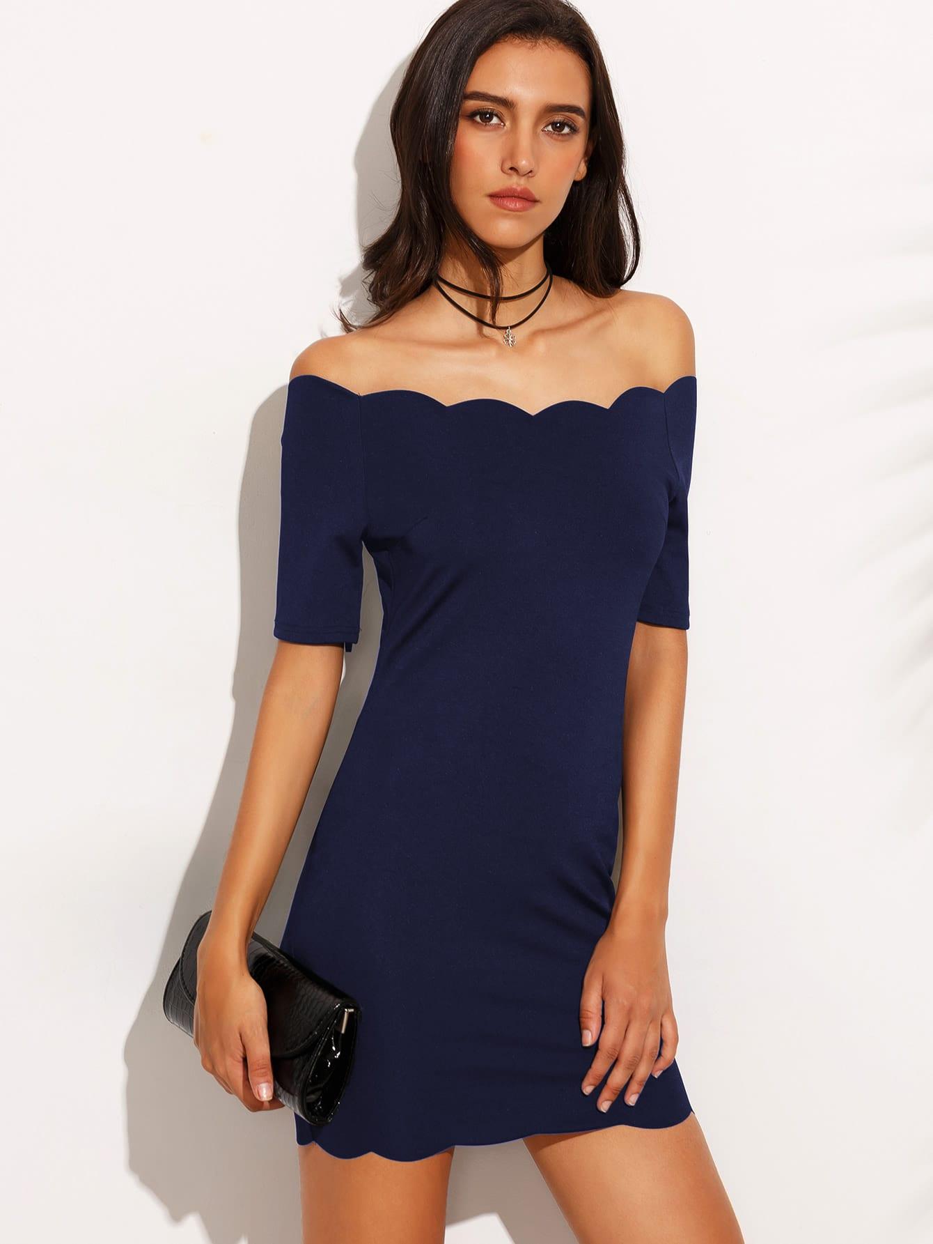 Купить Модное платье с фестонами и открытыми плечами, Camila, SheIn