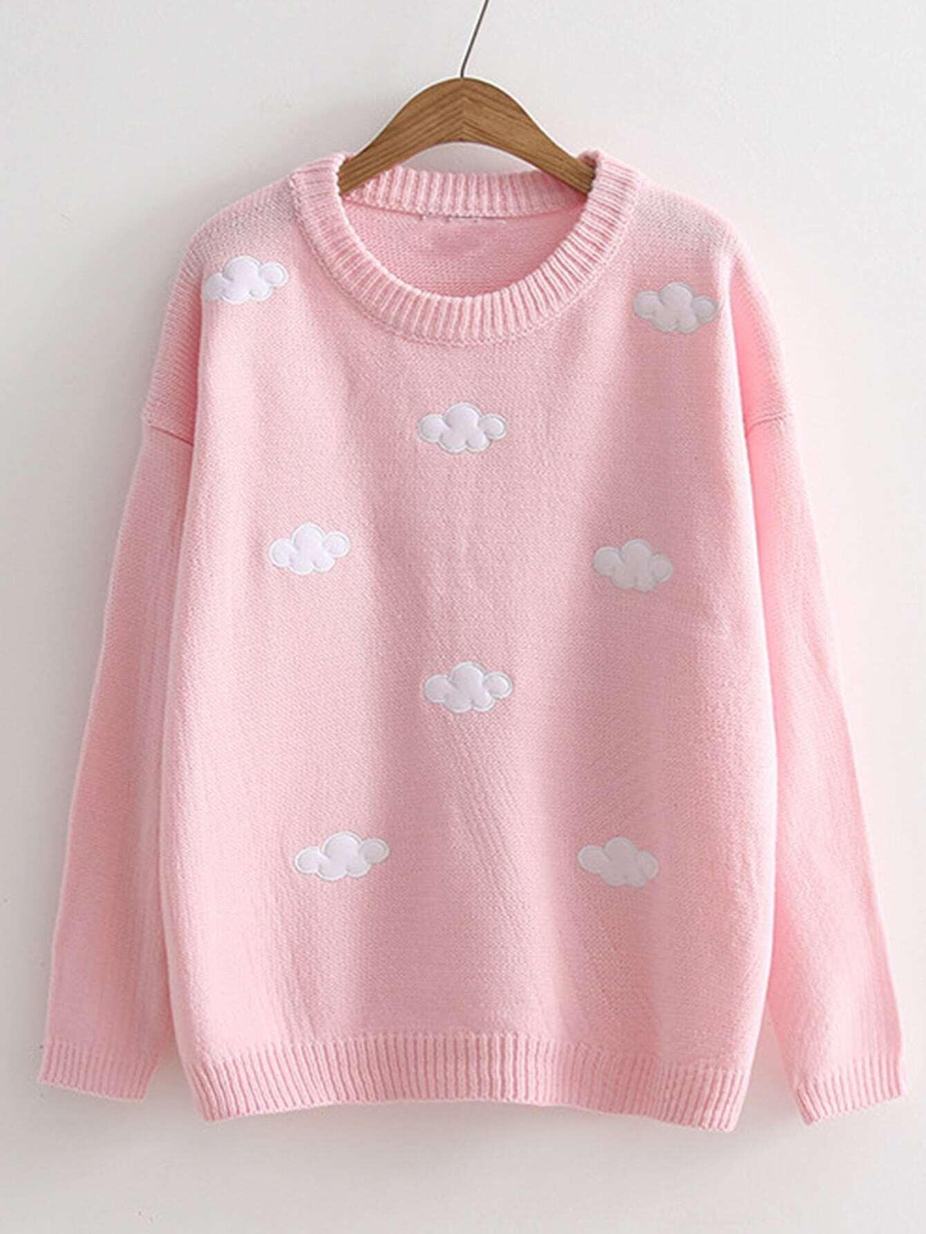Cloud Patch Rib Trim Sweater rkni170926207