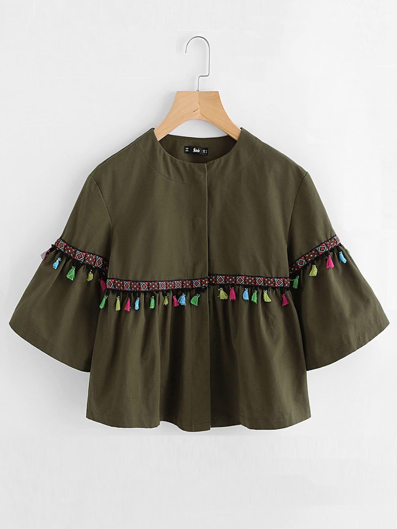 Bell Sleeve Tassel And Embroidered Tape Detail Jacket frill sleeve tape detail sweatshirt