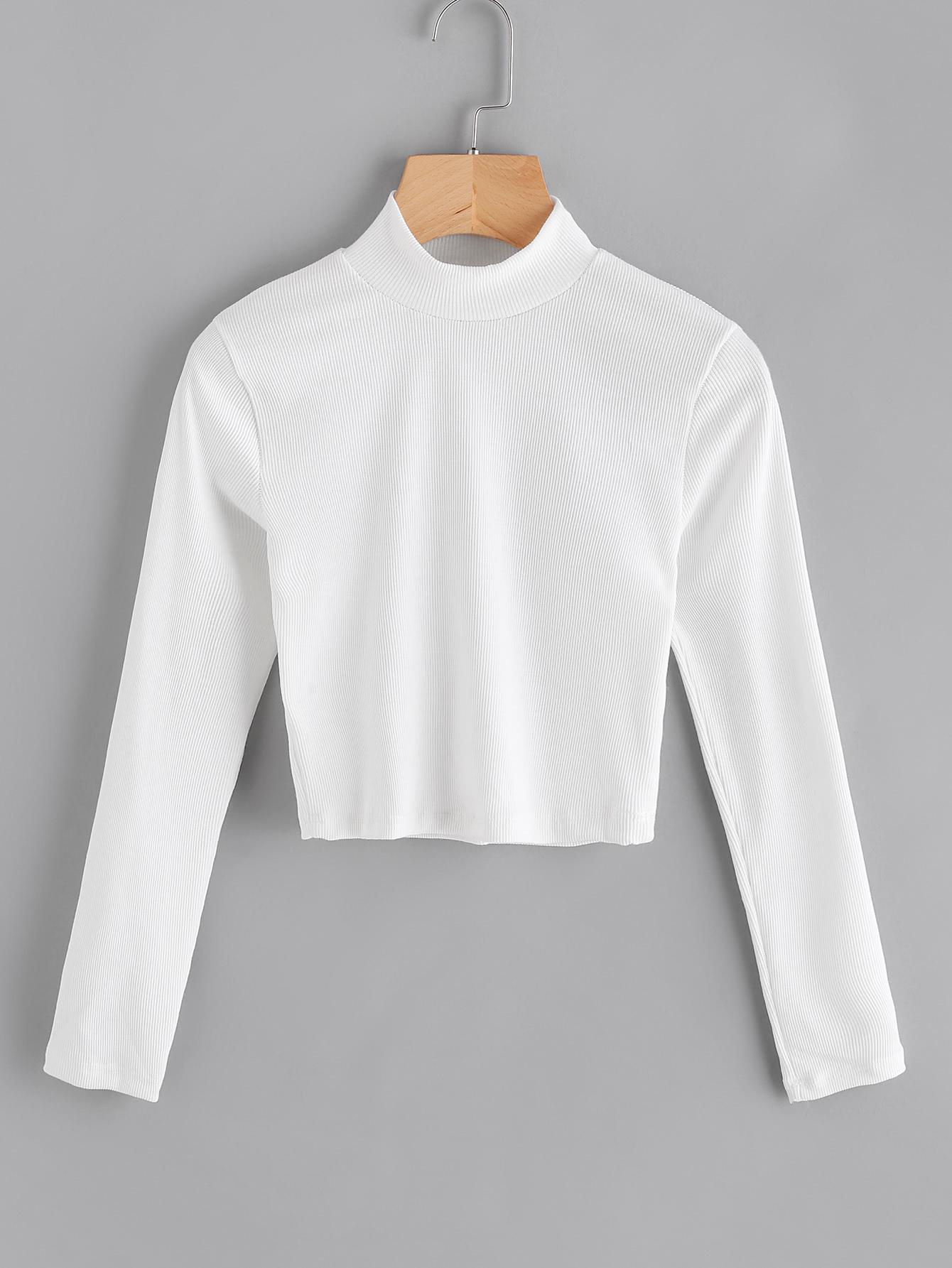 High Neck Ribbed Crop Sweater RKNI170904101