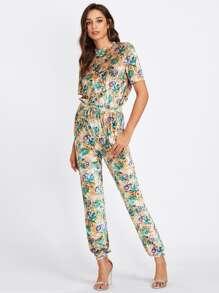 Drawstring Waist Tropical Print Velvet Jumpsuit