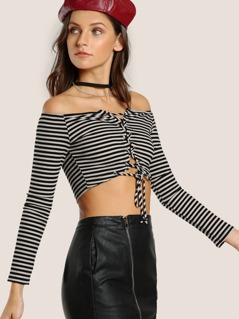 Off Shoulder Striped Lace Up Crop Top TAUPE BLACK