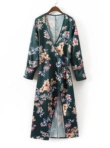 Surplice Plunge Neckline Tie Waist Longline Kimono