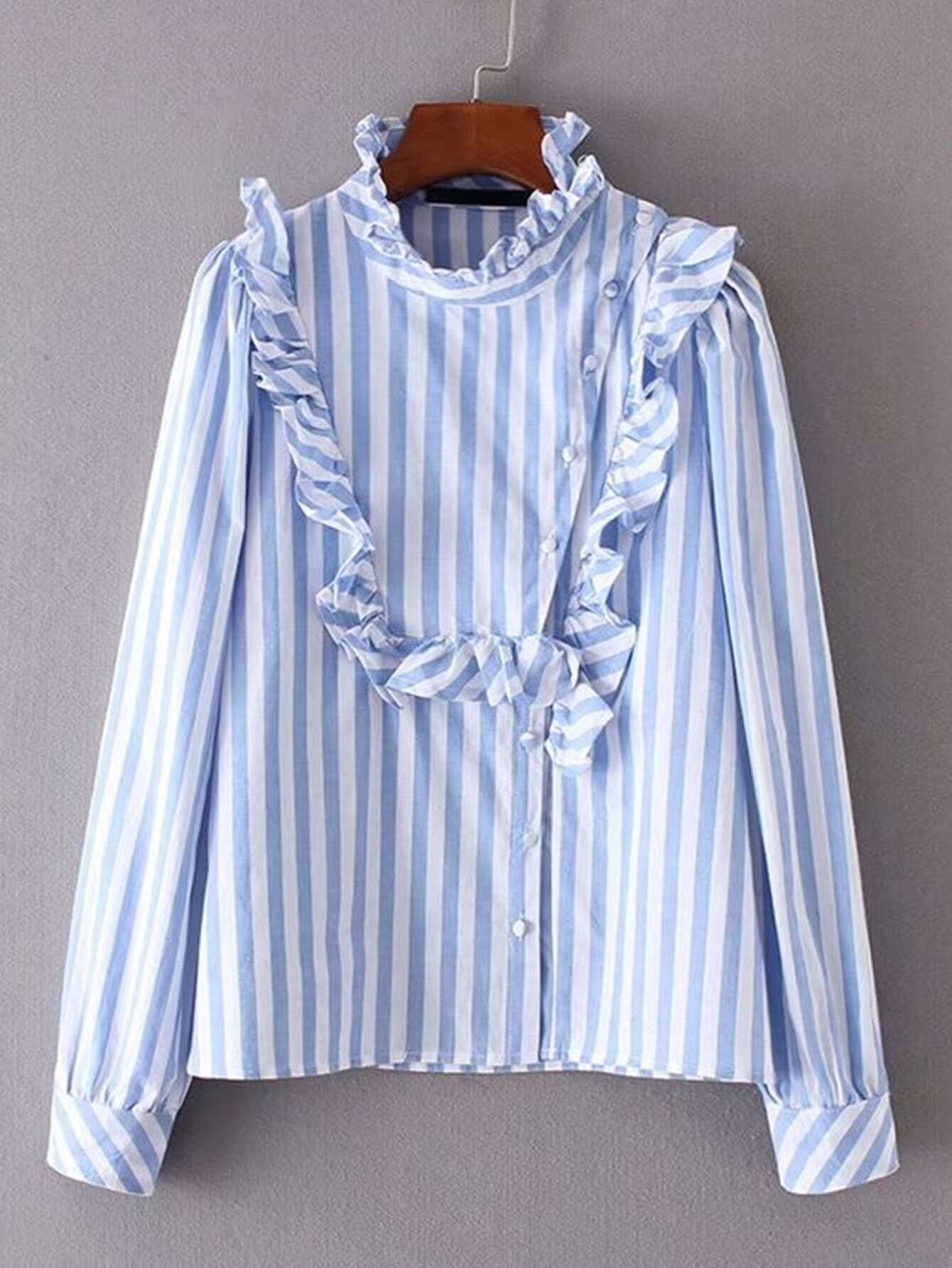 Ruffle Detail Oblique Button Striped Blouse