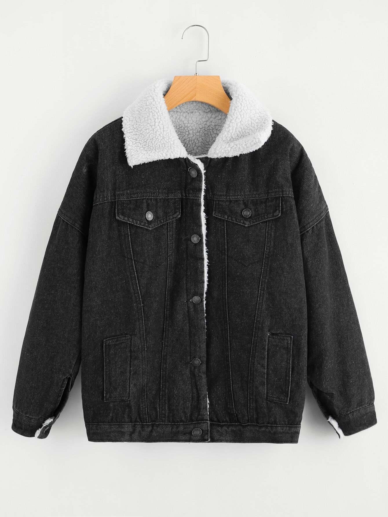 Single Breasted Denim Sherpa Jacket цена и фото