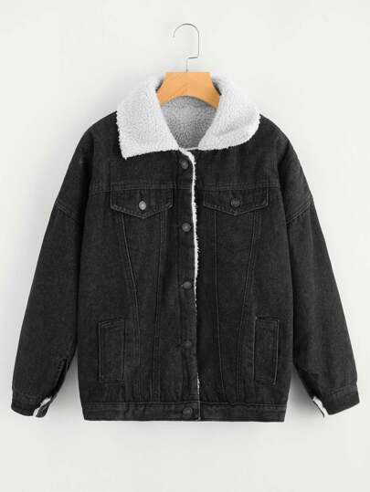 Single Breasted Denim Sherpa Jacket