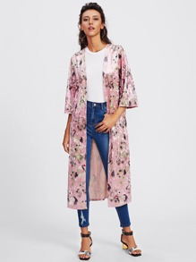 Crane Bird Print Crushed Velvet Duster Coat