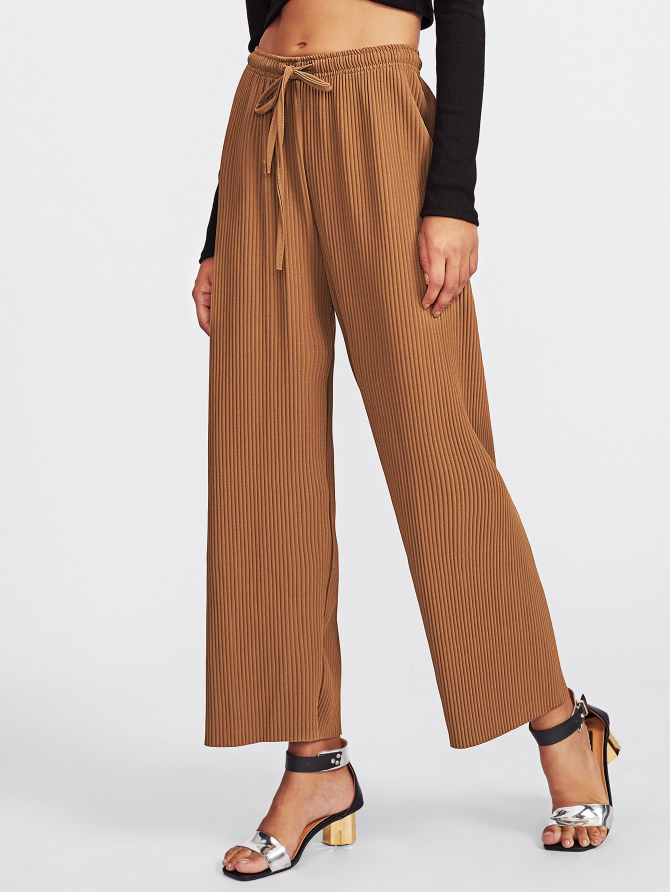 Drawstring Waist Ribbed Pants pants170925030