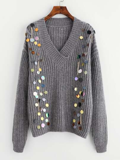 Sequin And Chain Embellished V Neck Jumper