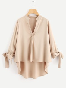 V-Placket Bow Cuff Dip Hem Blouse