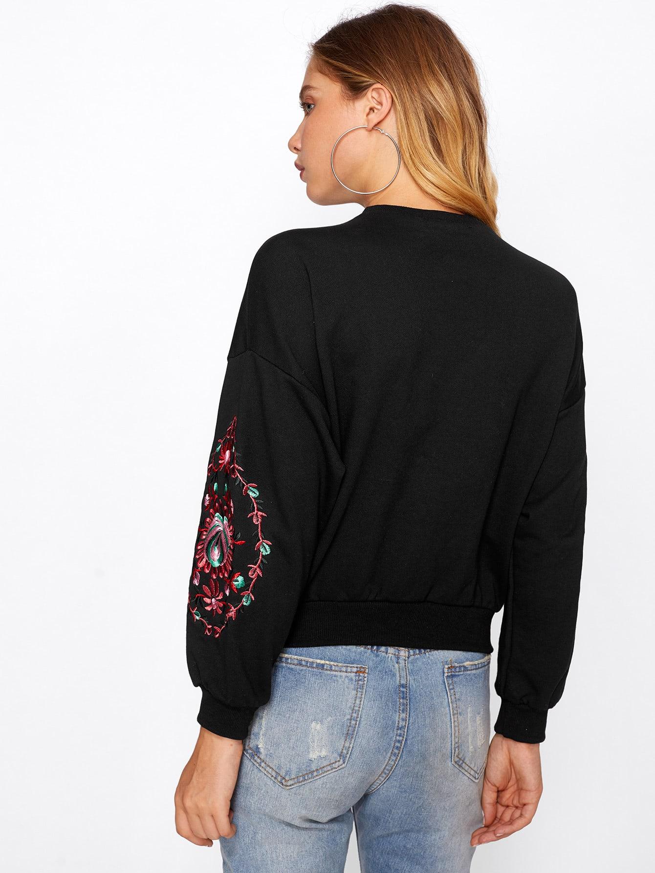 Lace Up Choker Neck Embroidered Sweatshirt