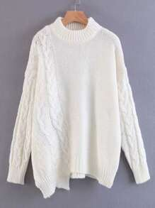 Cable Knit Asymmetrical Jumper Sweater